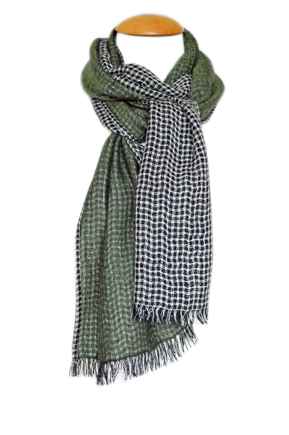 Olive Checked Reversible Scarf