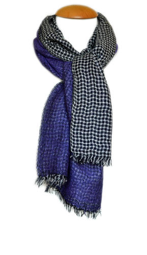 Purple Checked Reversible Scarf