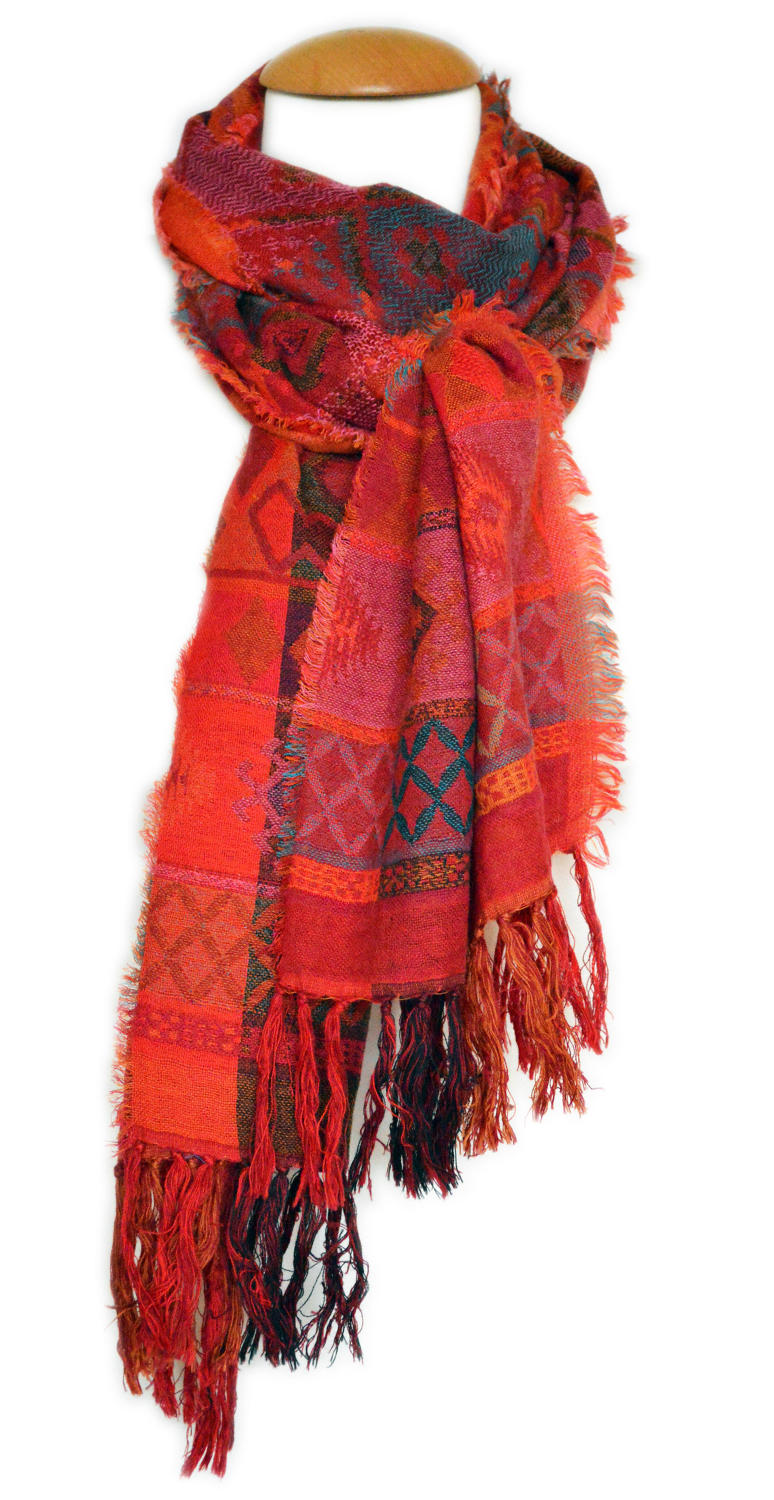Red Banjara Double Weave Scarf