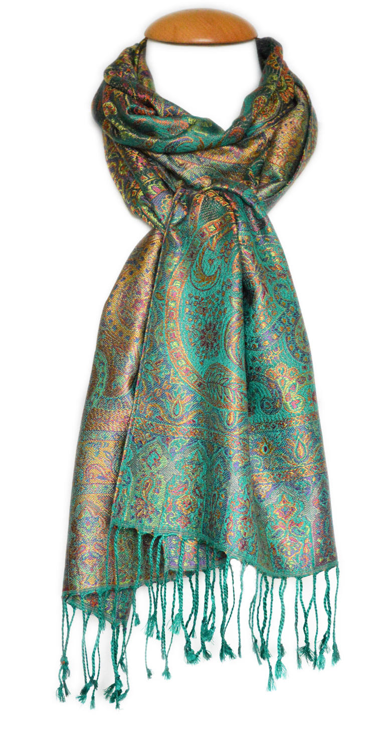 Green/Multi Silk Jacquard Scarf