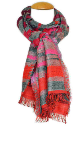 Grey/Red Double Weave Scarf