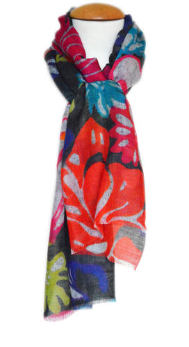 Digital Print Floral Abstract Scarf
