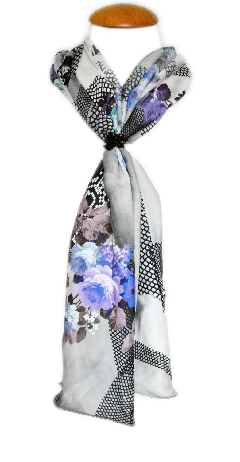 Monochrome/Blue Silk Scarf