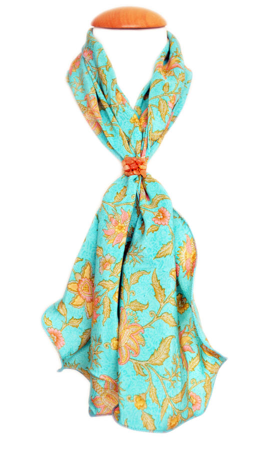 Turquoise Floral Crepe Silk Scarf