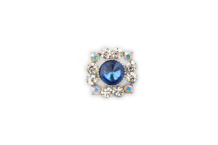 Blue Square Crystal Pin