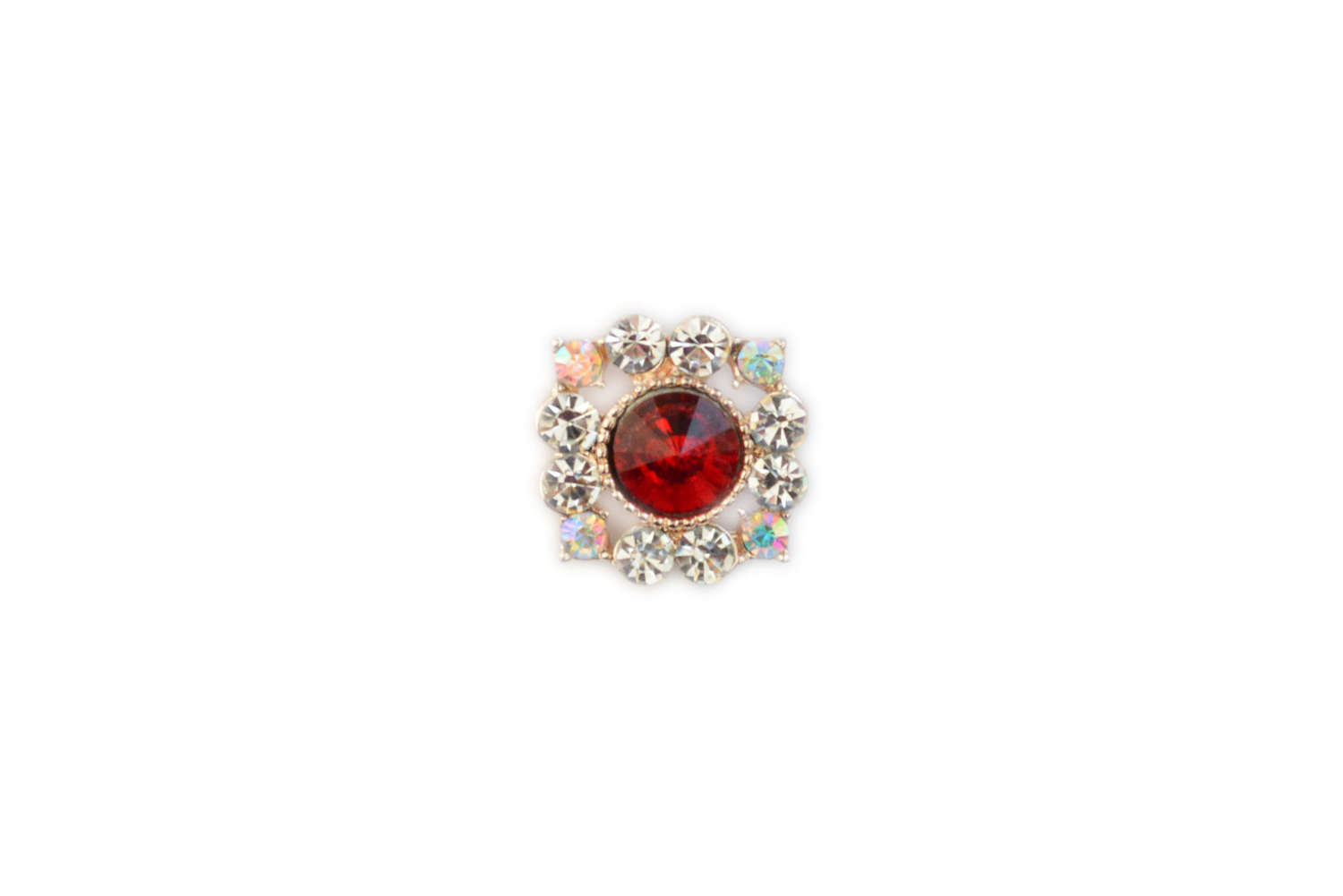 Red Square Crystal Pin