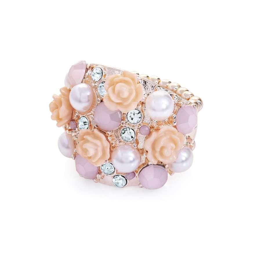 Rose gold colour pearl effect elasticated scarf ring