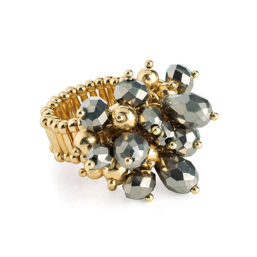 Glass bead cluster elasticated scarf ring
