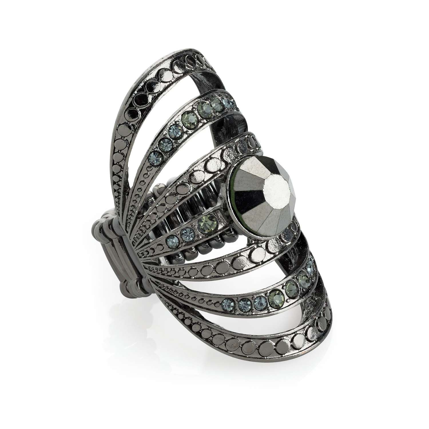 Crystal Oval elasticated scarf ring