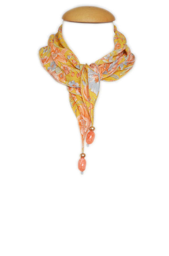 Floral Crepe Silk Necklace Scarf