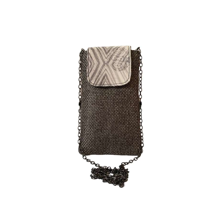 Opal pouch on chain - Grey
