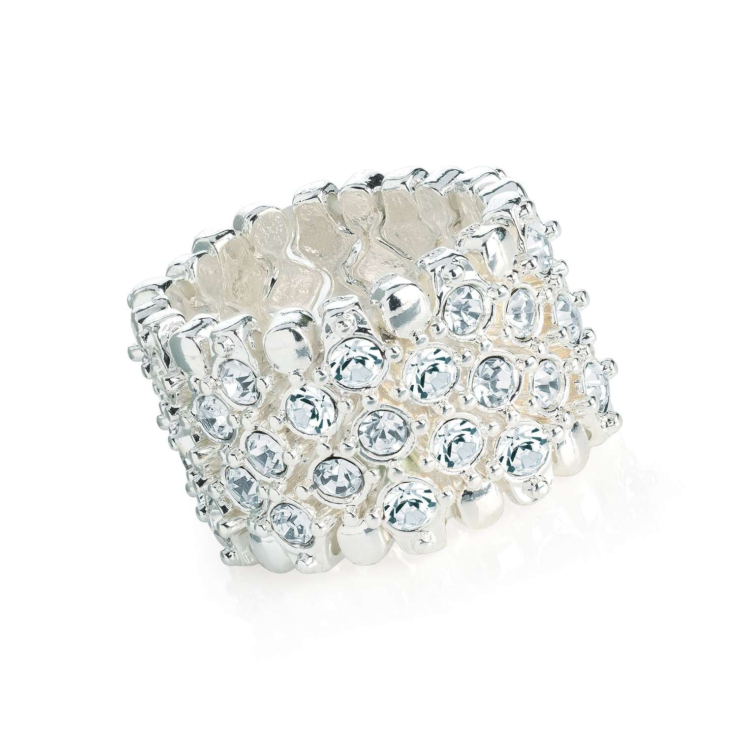 Silver colour elasticated scarf ring