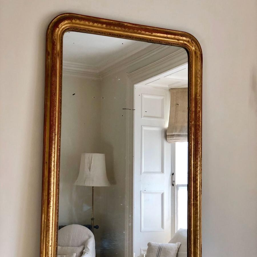 Large  French antique Louis Philippe gilt overmantel mirror c 1860