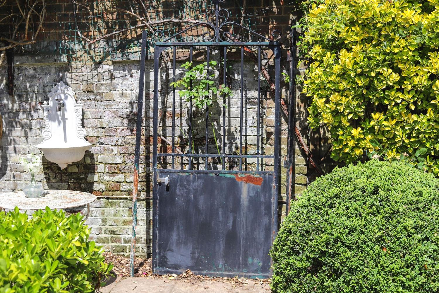 French antique iron garden gate