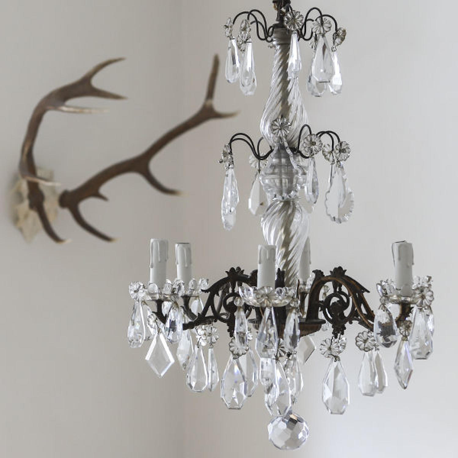 19th century French antique crystal chandelier
