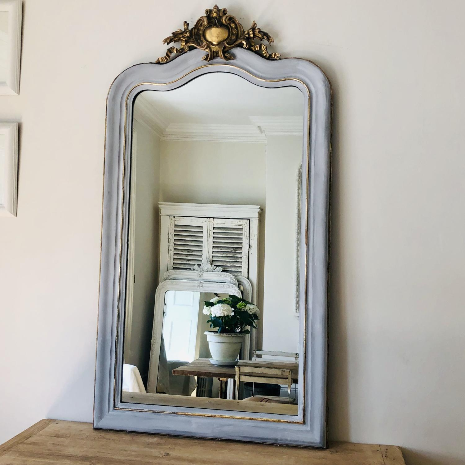 Large French antique painted and gilt Louis XV crested mirror
