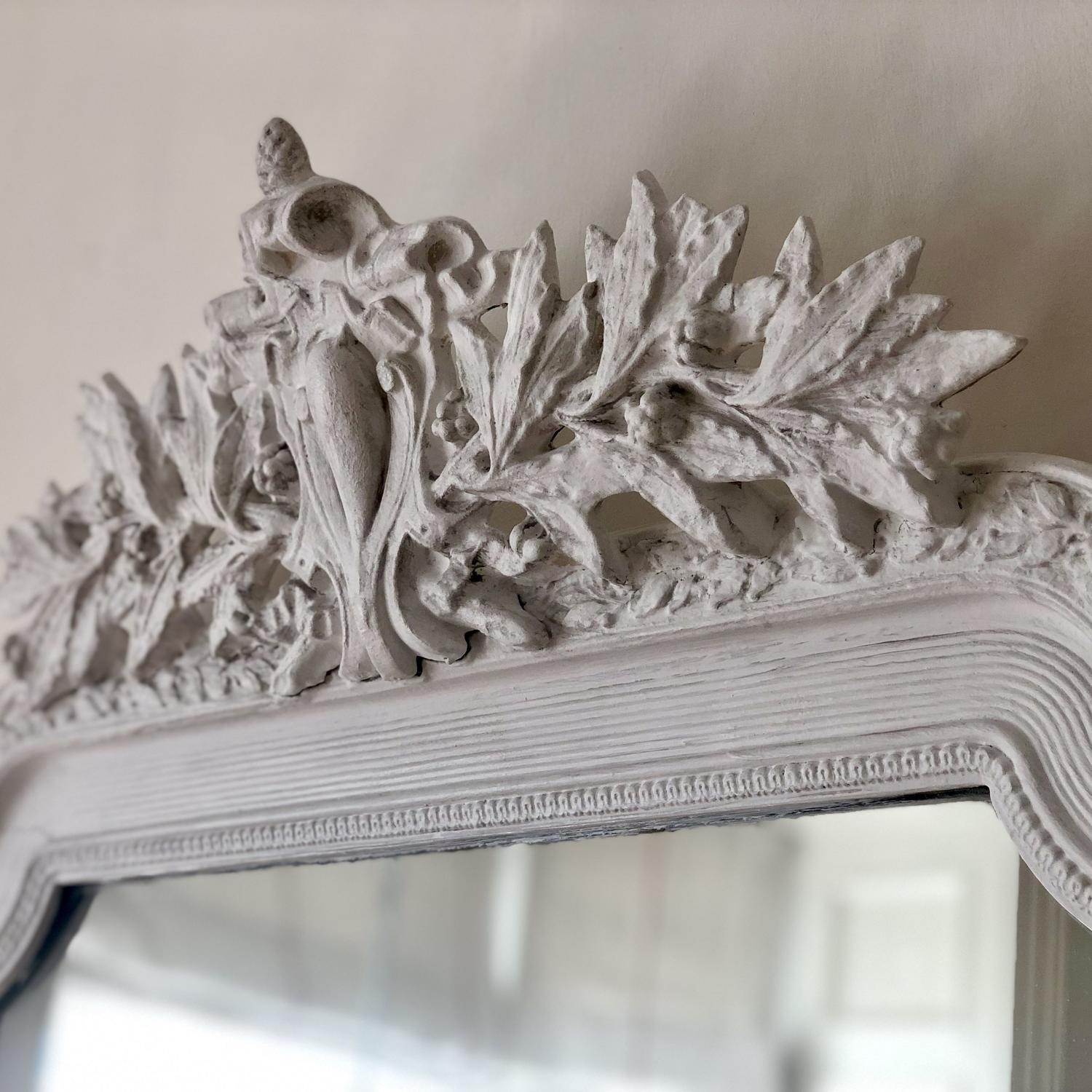 French antique painted Louis XV crested mirror