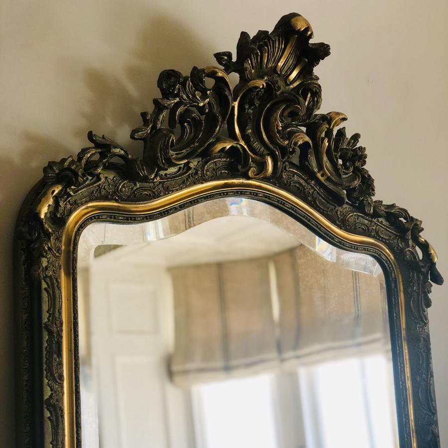 19th century French antique Louis XV gilt crested mirror