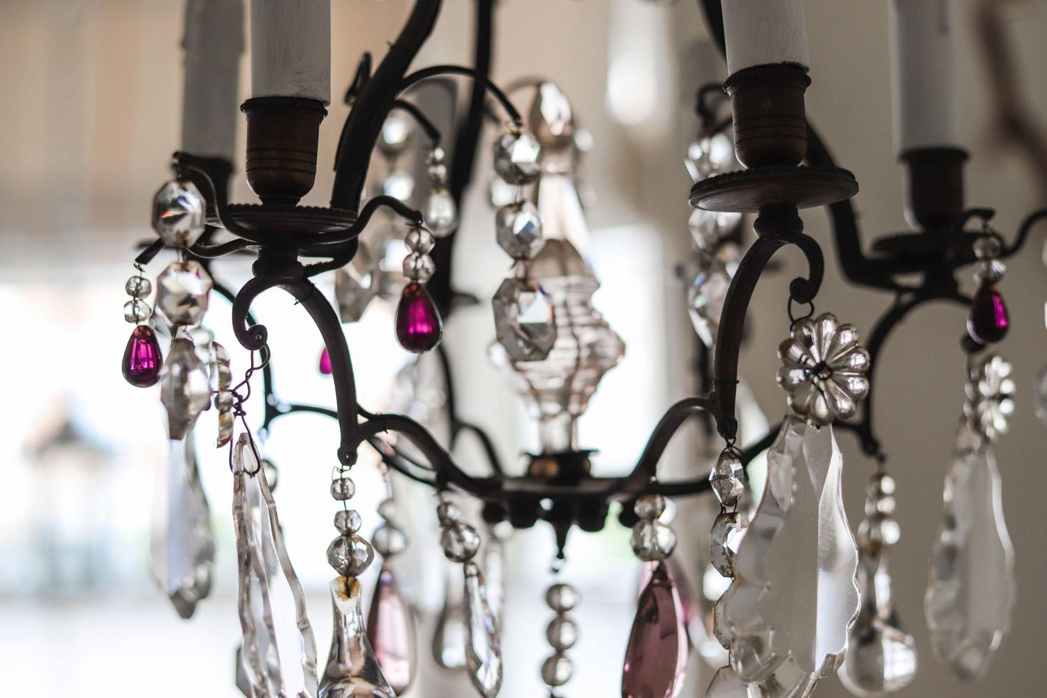 French antique cage crystal chandelier 6 branches