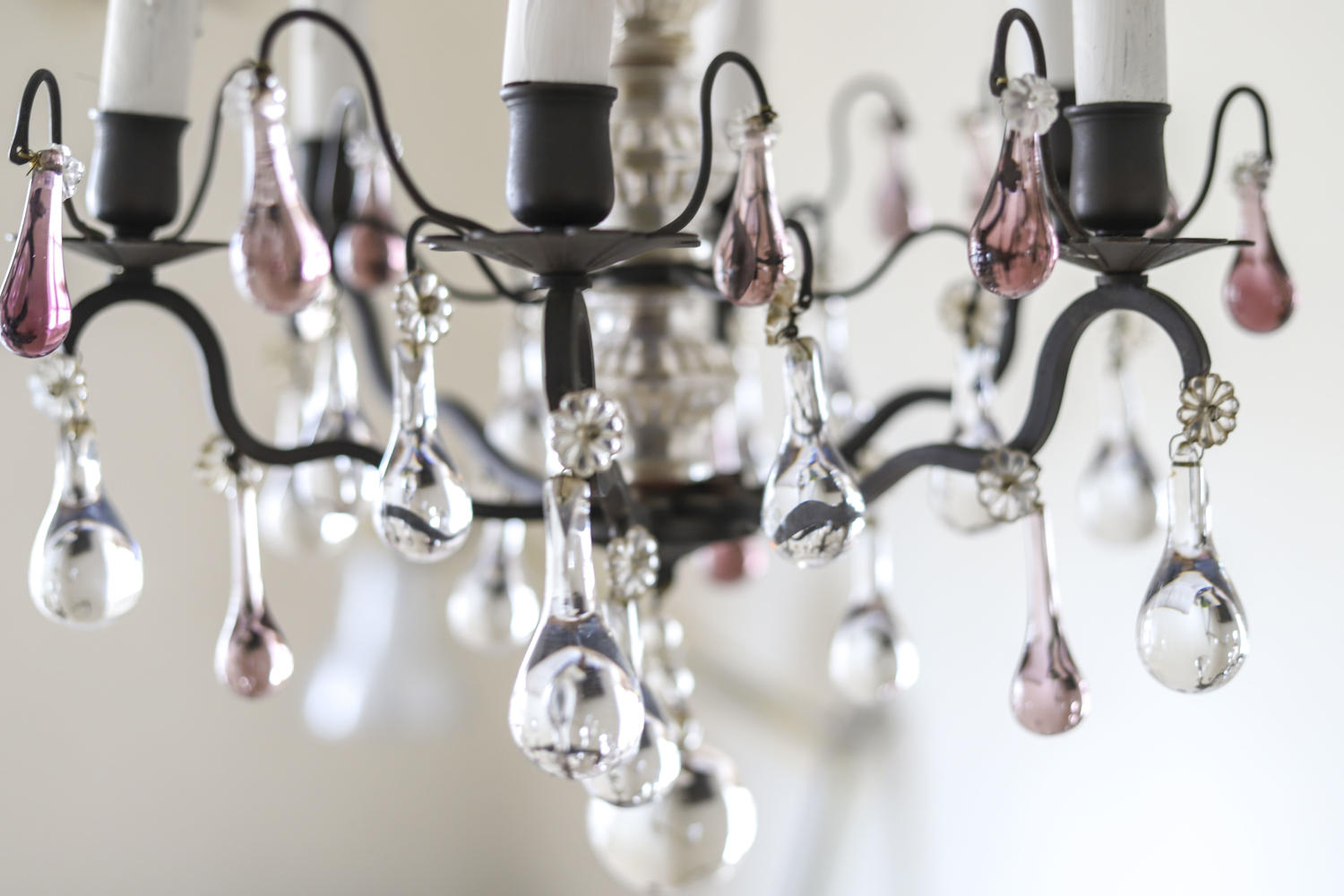 19th century French antique 6 branch crystal chandelier