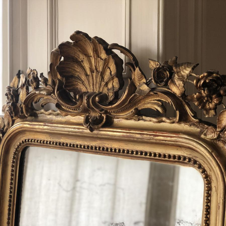 Large 19th century French gilt leaner mirror mercury glass