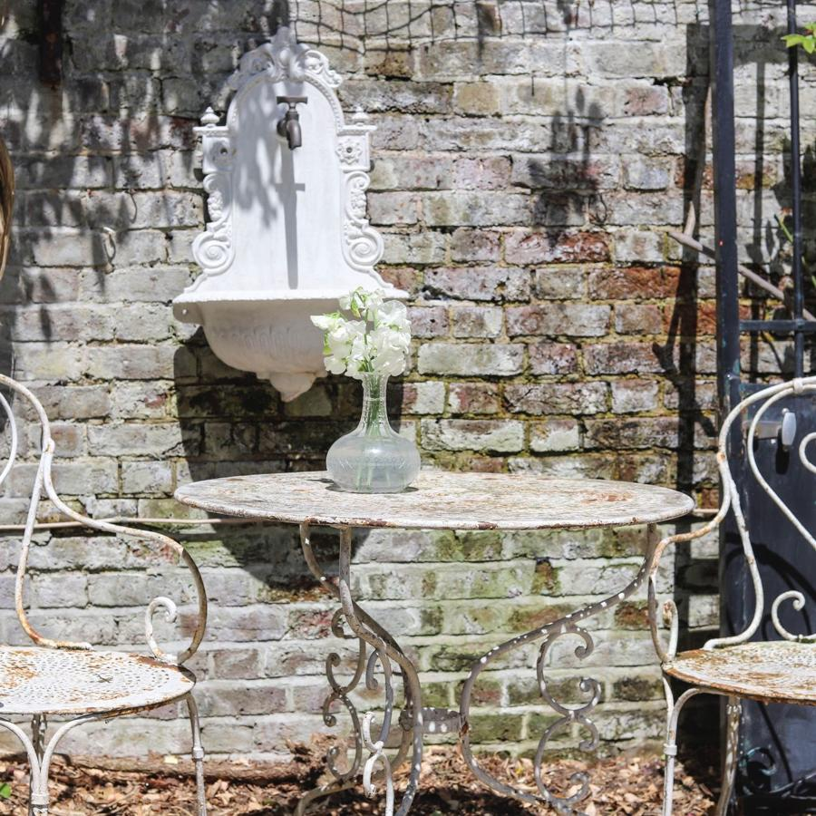 19th century French antique wrought iron table and 2 garden chairs set