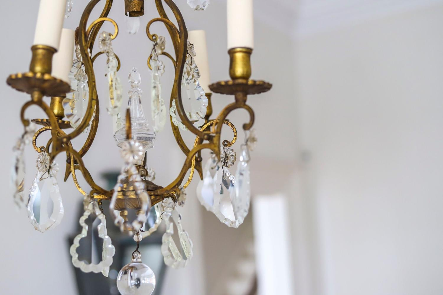 19th century French cage 4 branch chandelier