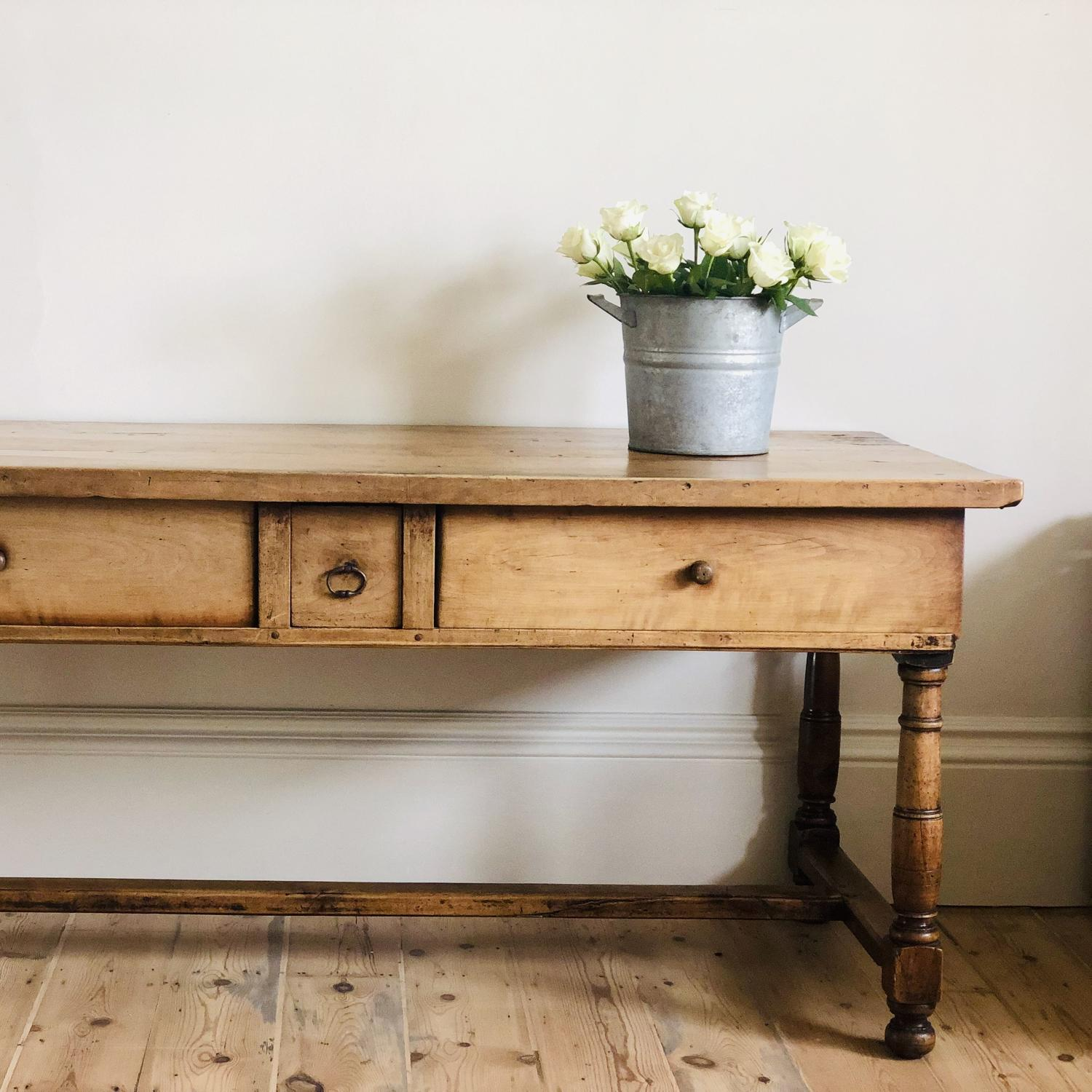 French antique oak 19th century farmhouse table