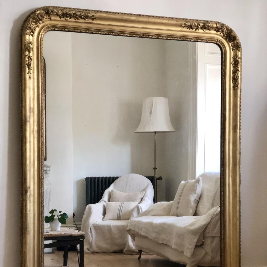 Huge French antique 19th century gilt leaner mirror