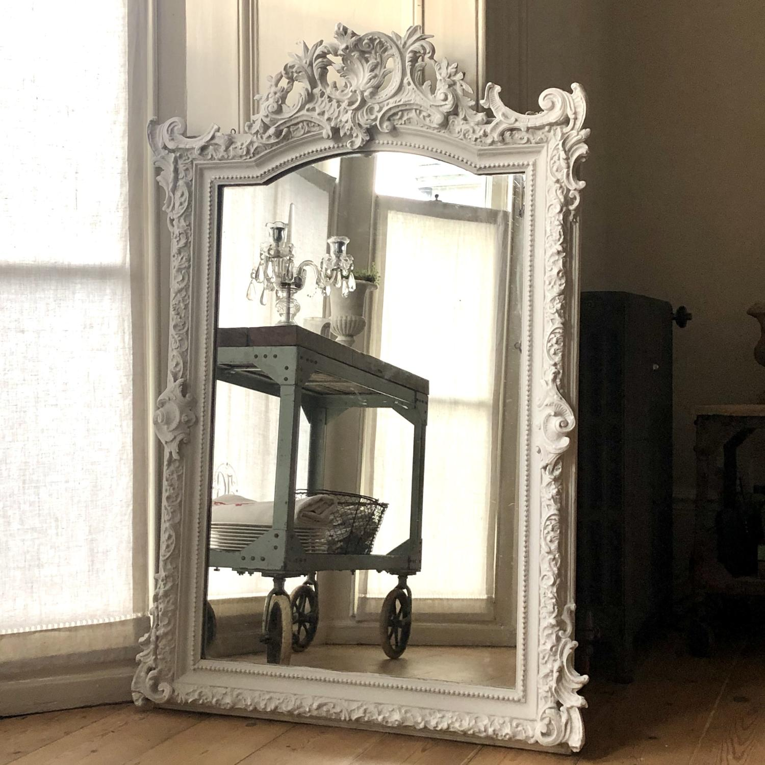 French antique Louis XV crested mirror