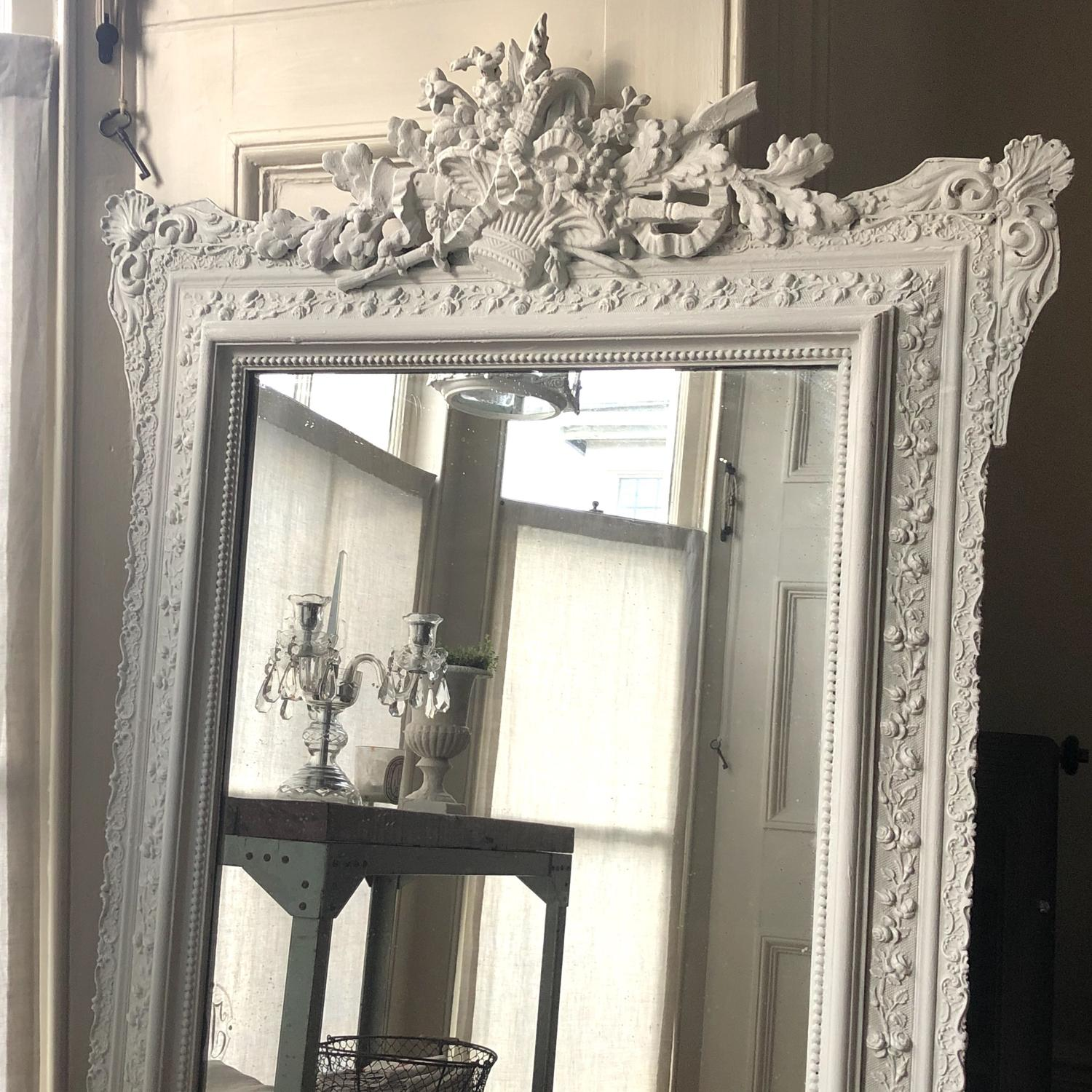 19th century French antique Louis XVI painted mirror