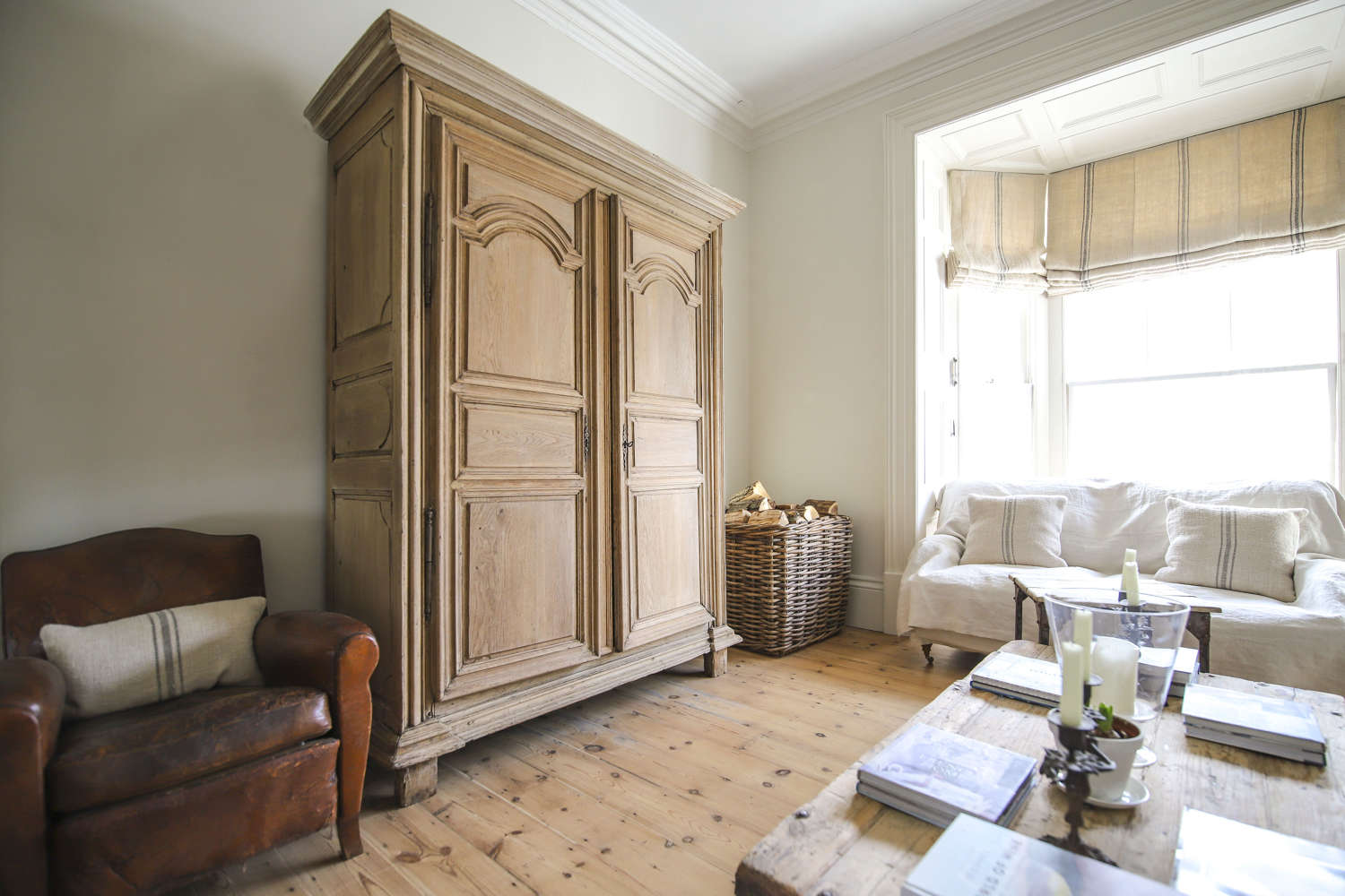 18th century French antique oak armoire wardrobe with hanging rail