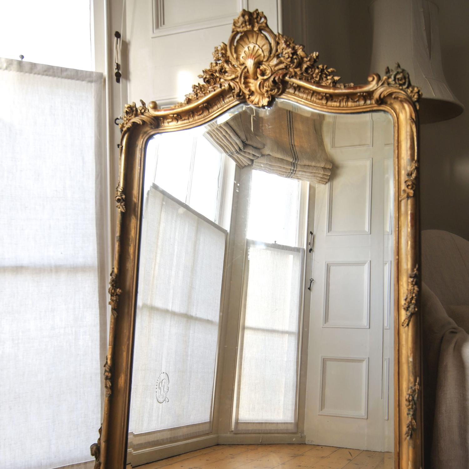 Large antique French gilt Louis XV mirror c1880