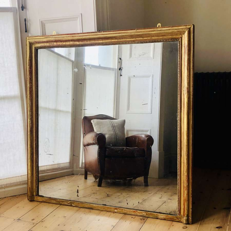 Large 19th century French antique gilt bistro mirror
