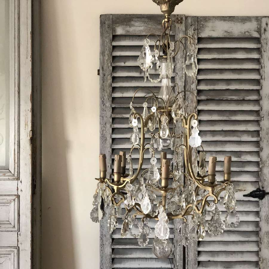 Large 19th century French antique cage chandelier
