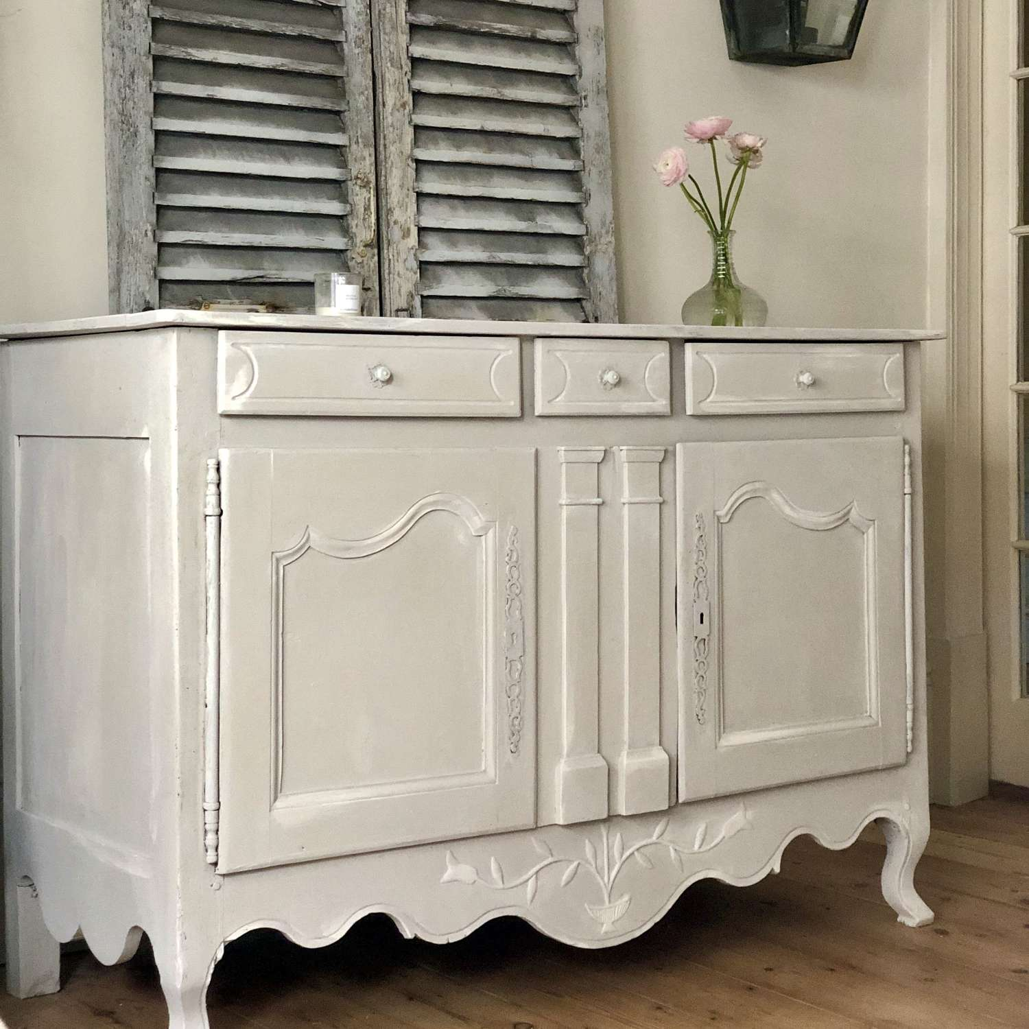 French antique vintage painted cupboard sideboard cabinet c1910