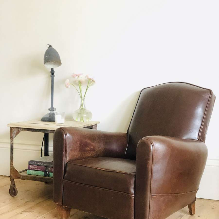 Art Deco French vintage leather club chair c1930