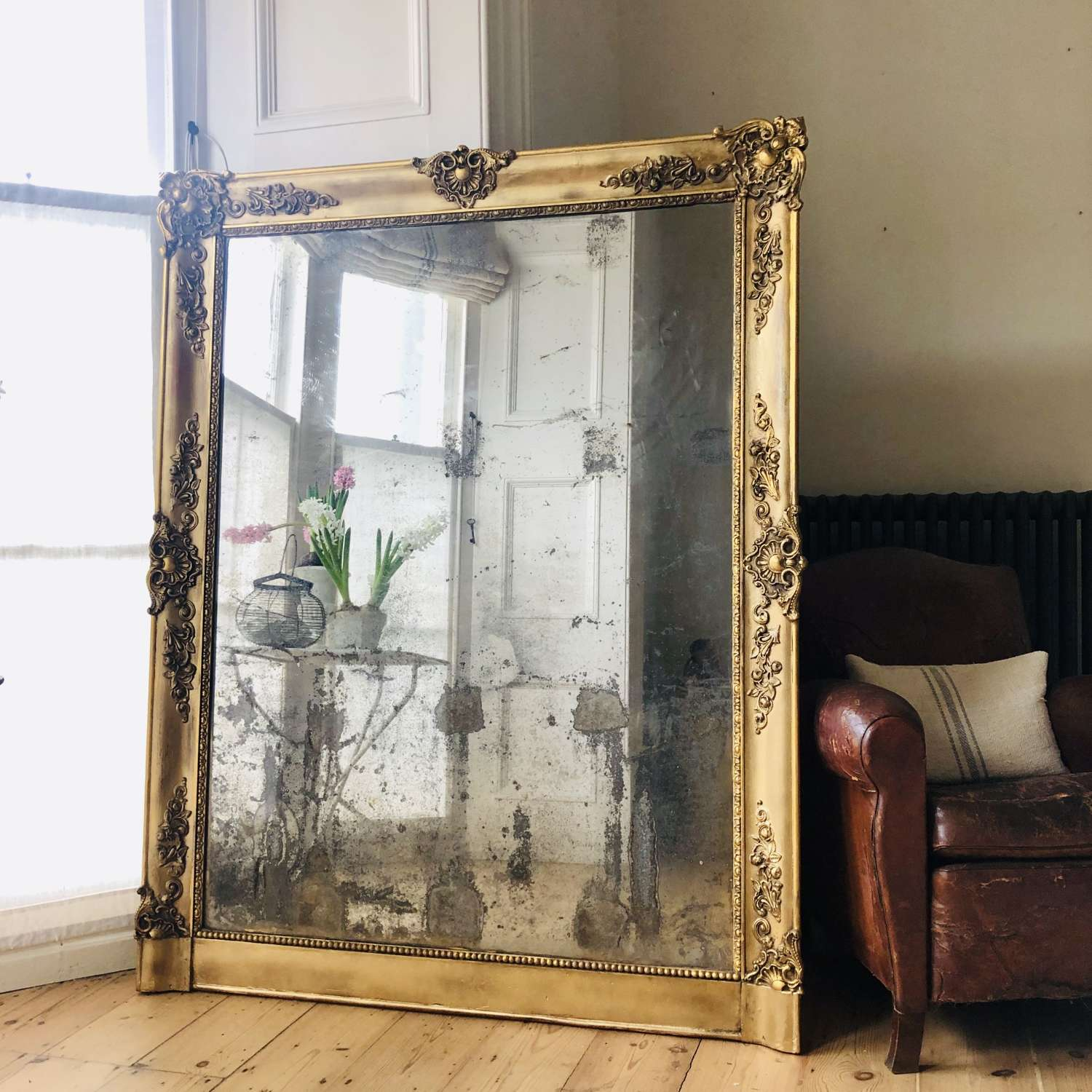 Large French antique gilt mirror - foxed / distressed mercury glass