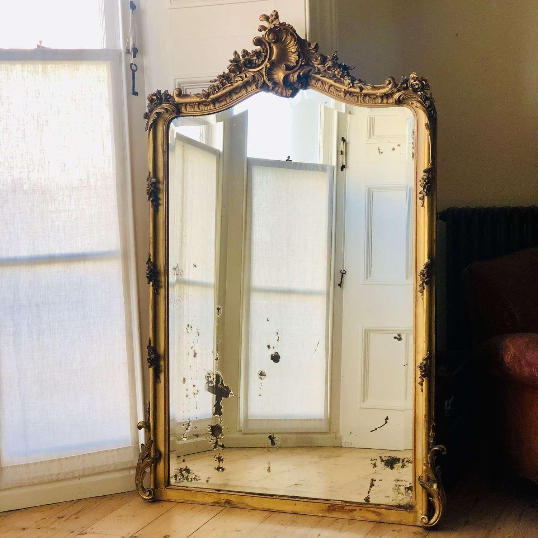 Large antique French gilt Louis XV mirror c1880