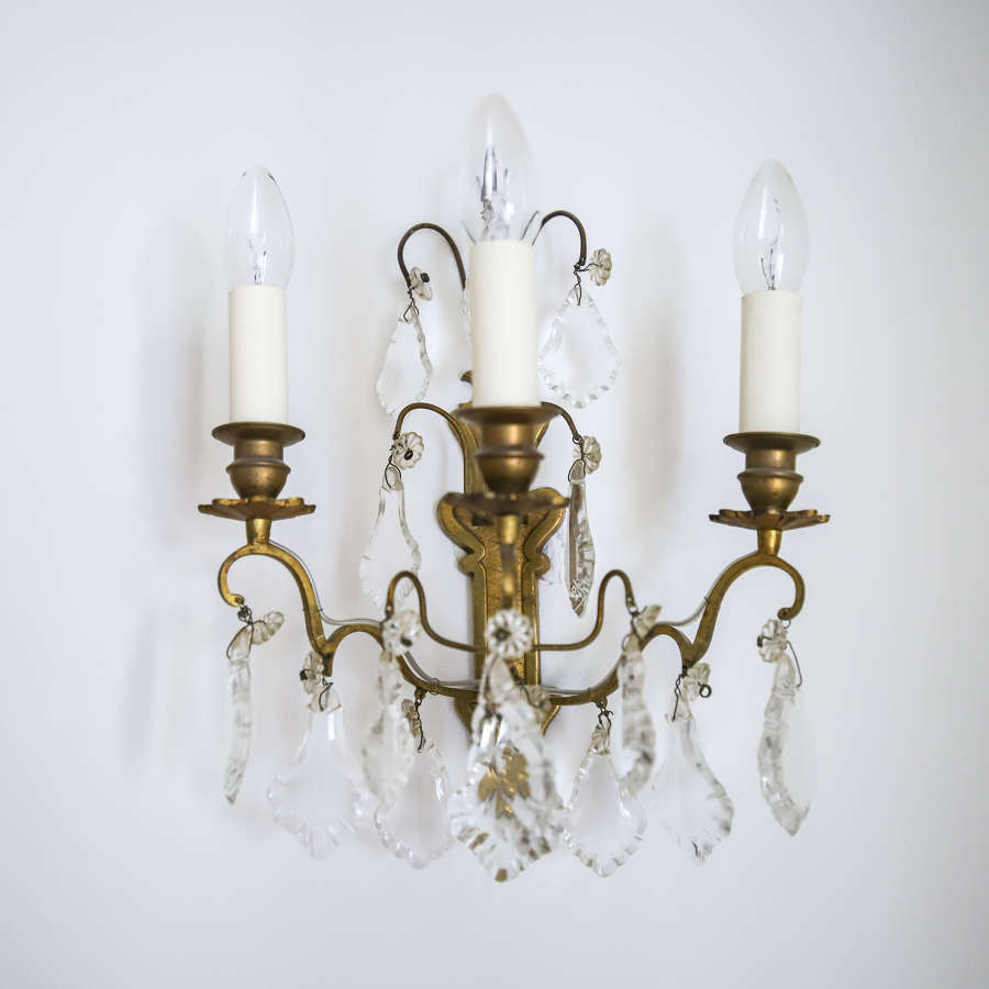 Pair of antique French crystal wall lights / sconces