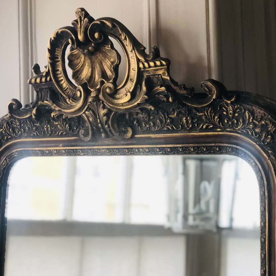 Antique French gilt crested mirror