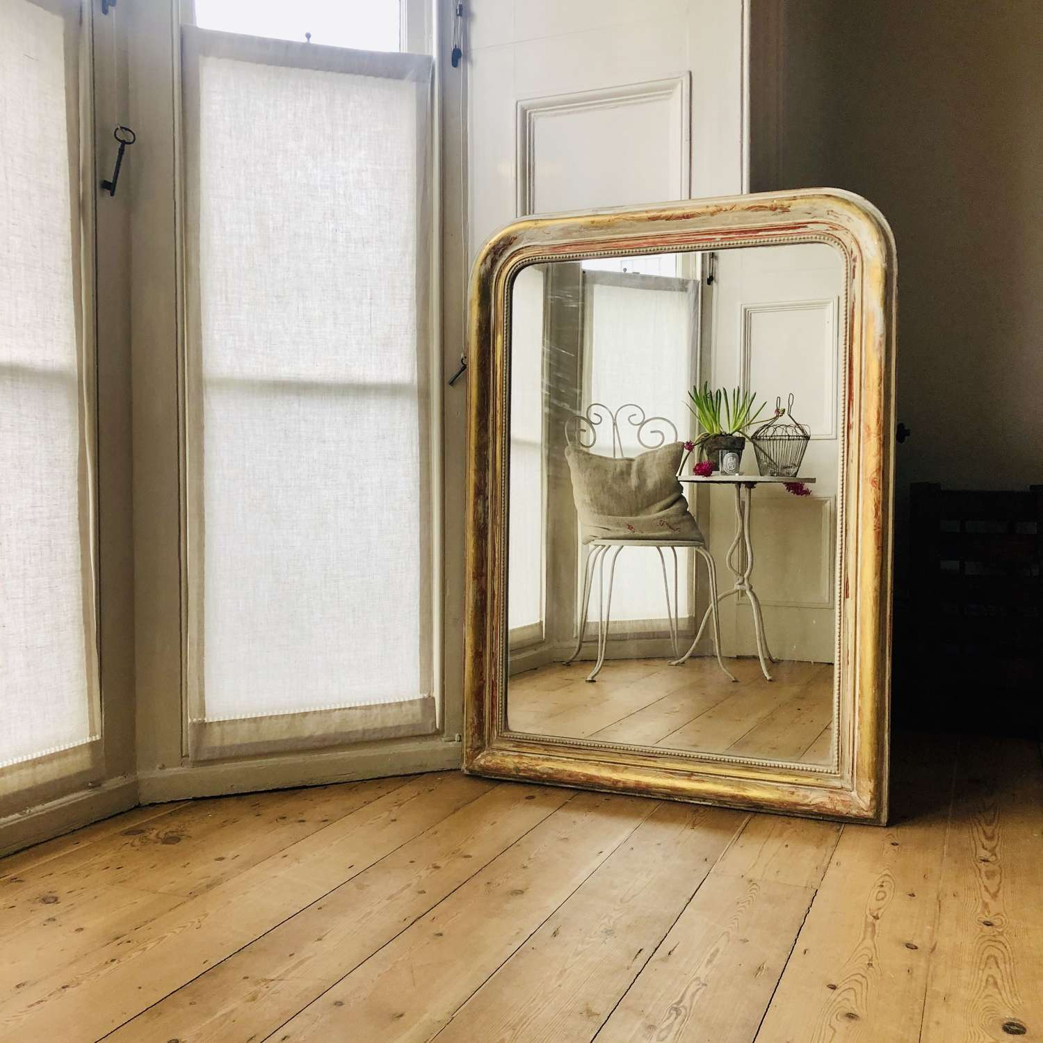 19th century French Louis Philippe gilt and gesso mirror