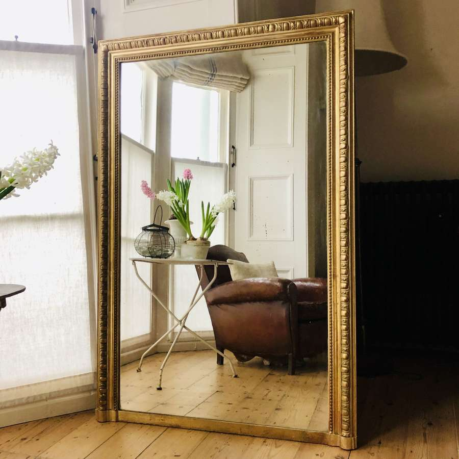 Antique French gilt rectangular overmantel mirror