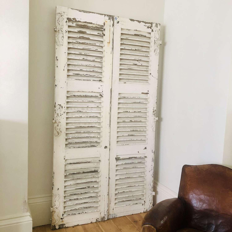 Antique French oak shutters - moustache hinges