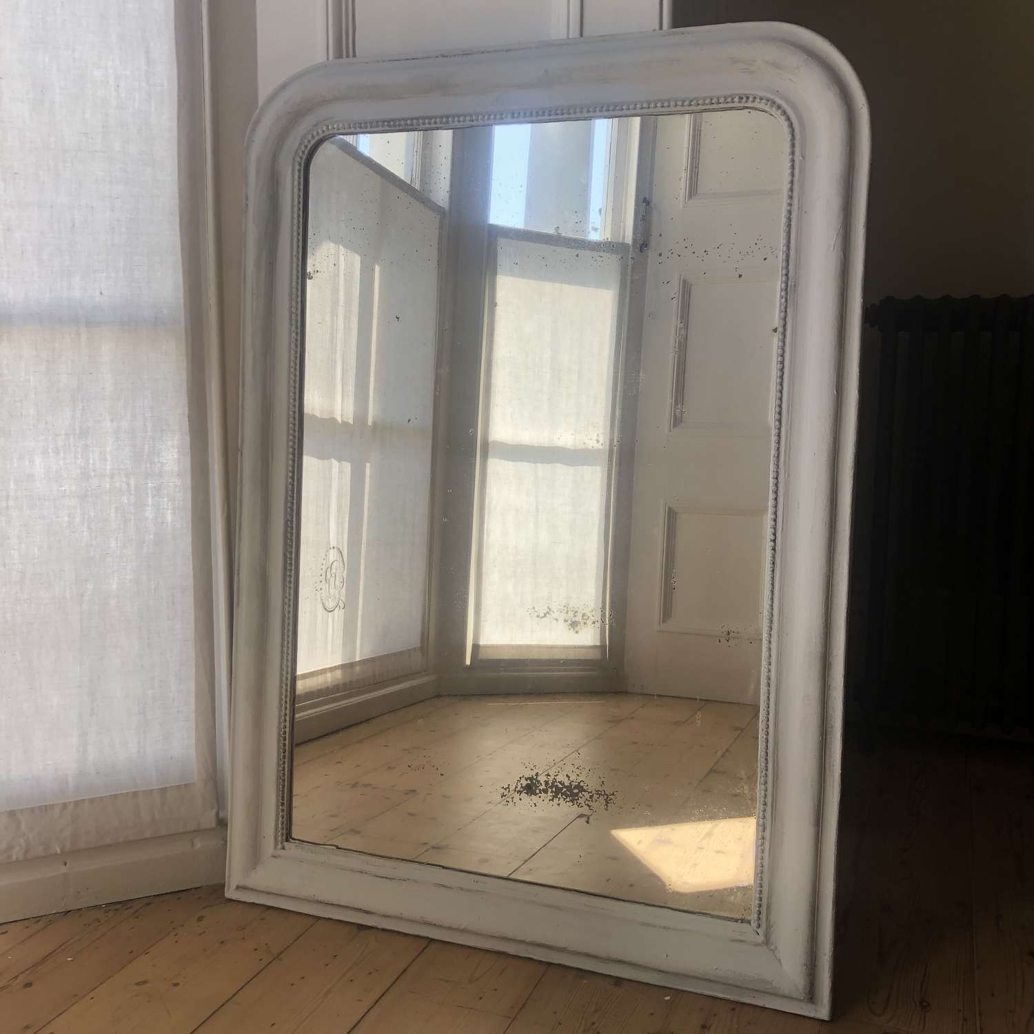 Antique French Louis Philippe painted mirror c1850 - foxed glass