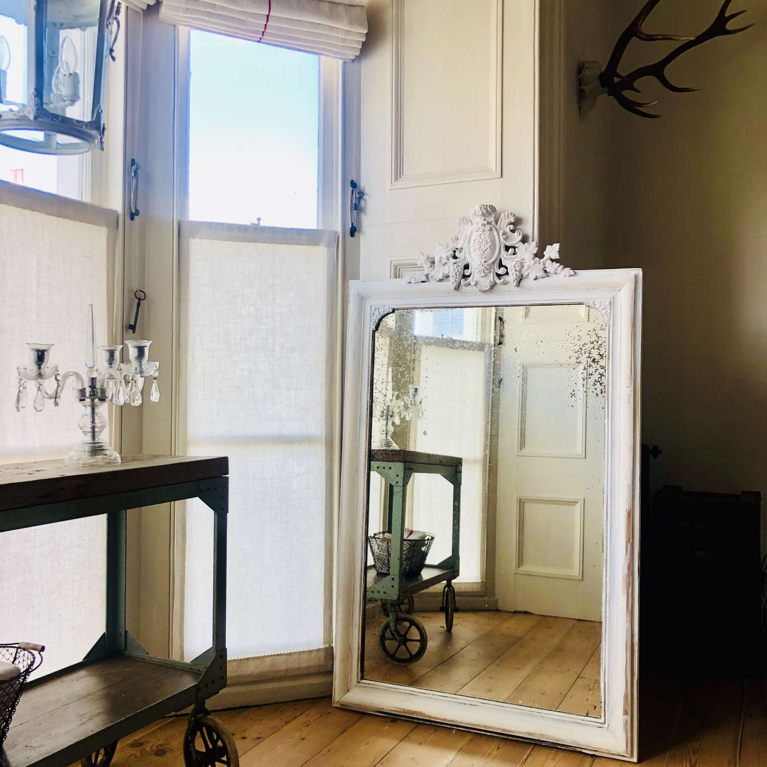 Antique French gesso and painted crested mirror - heavily foxed glass