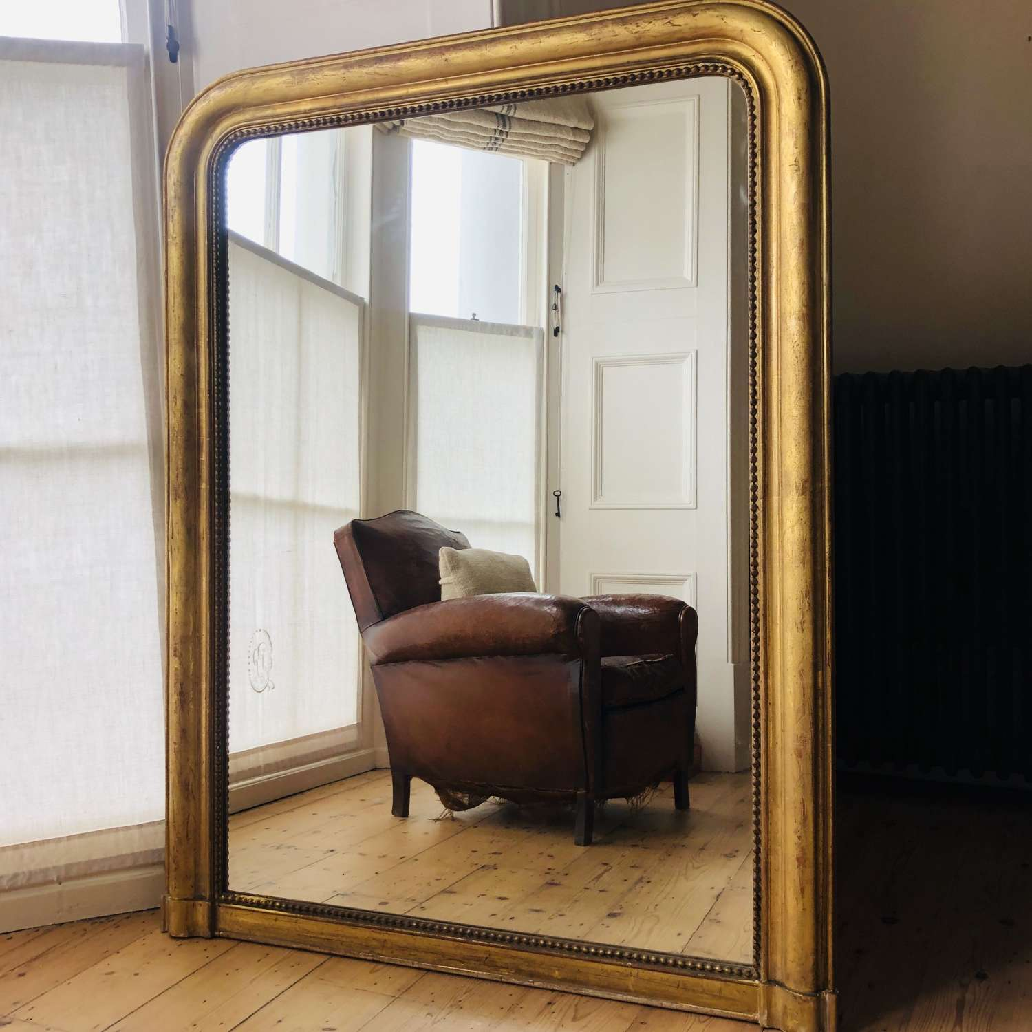 Large French antique gilt overmantel mirror - Louis Philippe