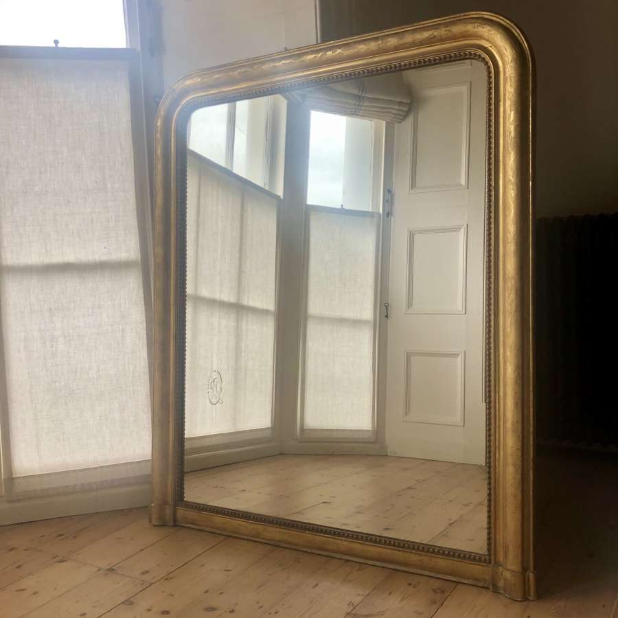 Wide antique French Louis Philippe mirror / overmantel