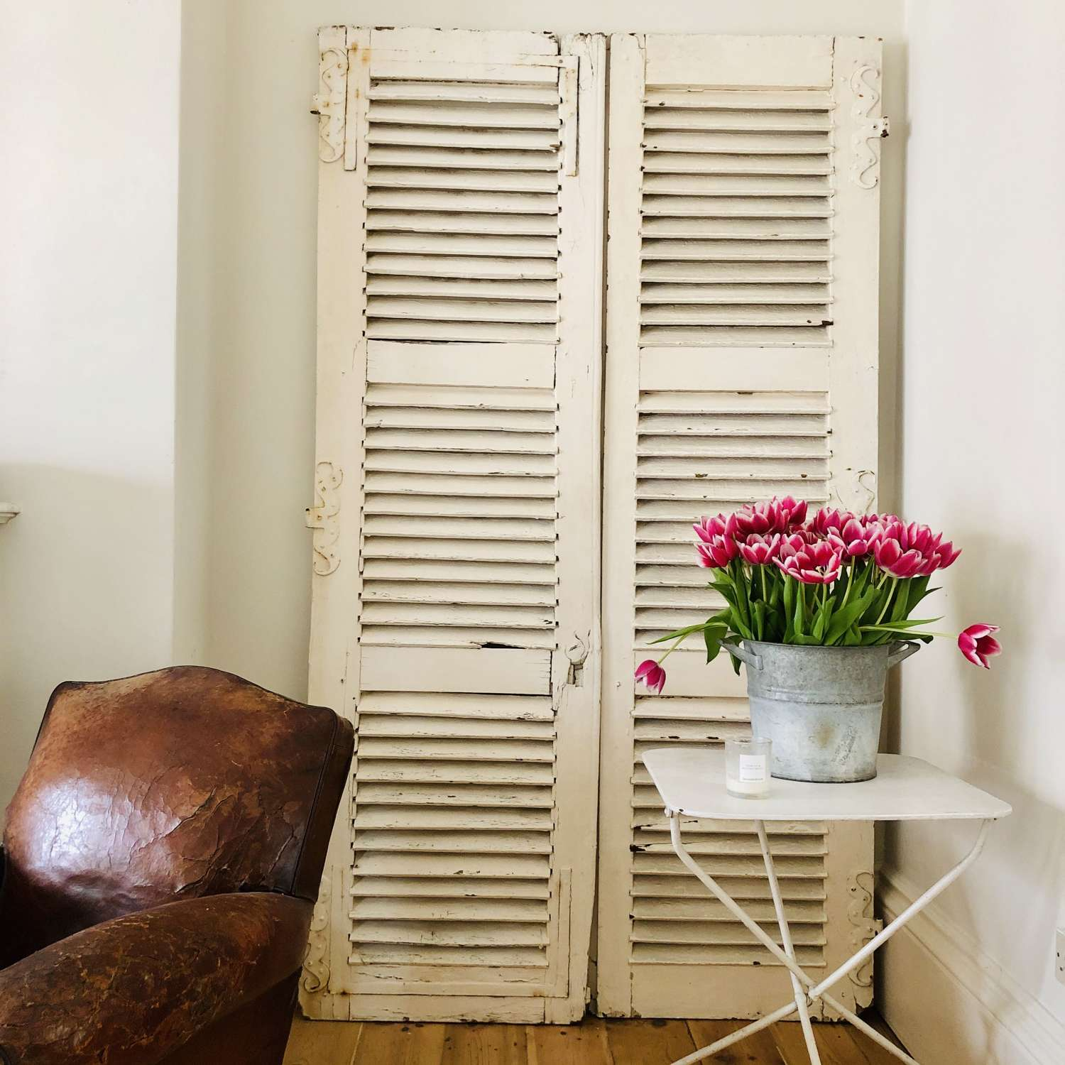 Antique French oak shutters - moustache hinges