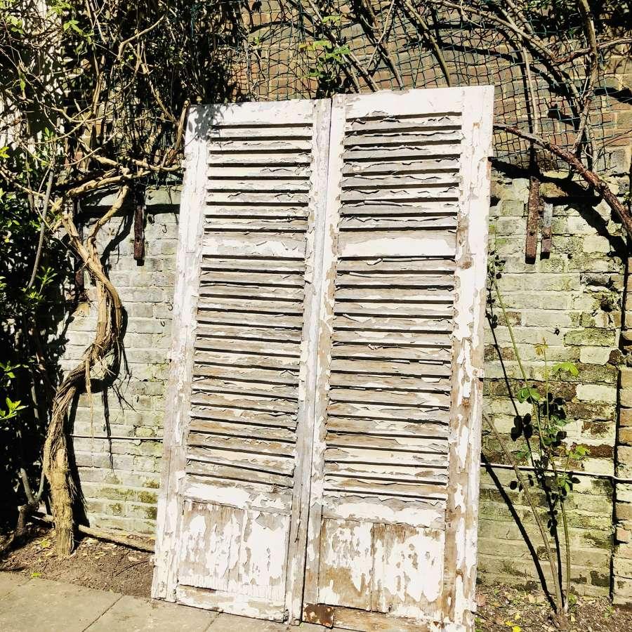 Vintage French oak shutters